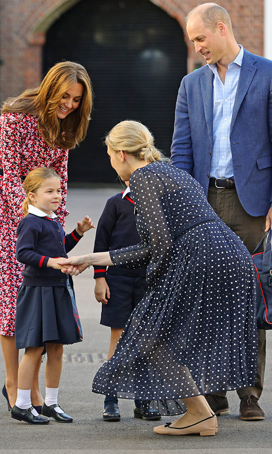 "Helen bent down to shake <a href=""/tags/0/princess-charlotte""><strong>Charlotte</a></strong>'s hand, and Charlotte looked thrilled and excited to be saying hello!