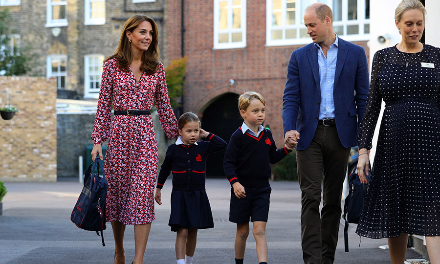 "From there, the adorable family of four headed into the school so <strong><a href=""/tags/0/princess-charlotte"">Charlotte</a></strong> could start her big day.