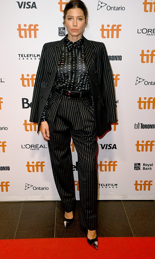 "WOW! <strong><a href=""/tags/0/jessica-biel"">Jessica Biel</a></strong> looked jaw-droppingly stunning in a fantastic pinstriped pantsuit and blouse with a completely different pattern on the <strong><a href=""/tags/0/tiff"">TIFF</a></strong> red carpet. She was in Toronto for the premiere of <i>Limetown</i>, her new Facebook Watch TV series. She stars in and executive produced the show, which was filmed in Vancouver! 