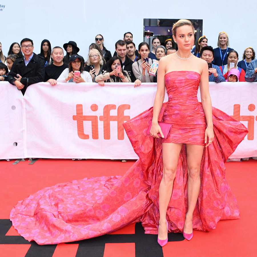 "<strong><a href=""/tags/0/brie-larson"">Brie Larson</a></strong> looked like she stepped out of a dream in a gorgeous pink gown with a super long train on the red carpet for <i>Just Mercy</i> on Sept. 6. Definitely one of the best looks of <strong><a href=""/tags/0/tiff"">TIFF</a></strong> 2019 so far!