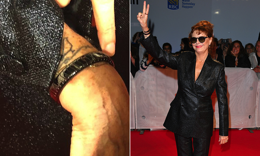 Susan Sarandon reveals the story behind her cool new tattoo at 'Blackbird' premiere