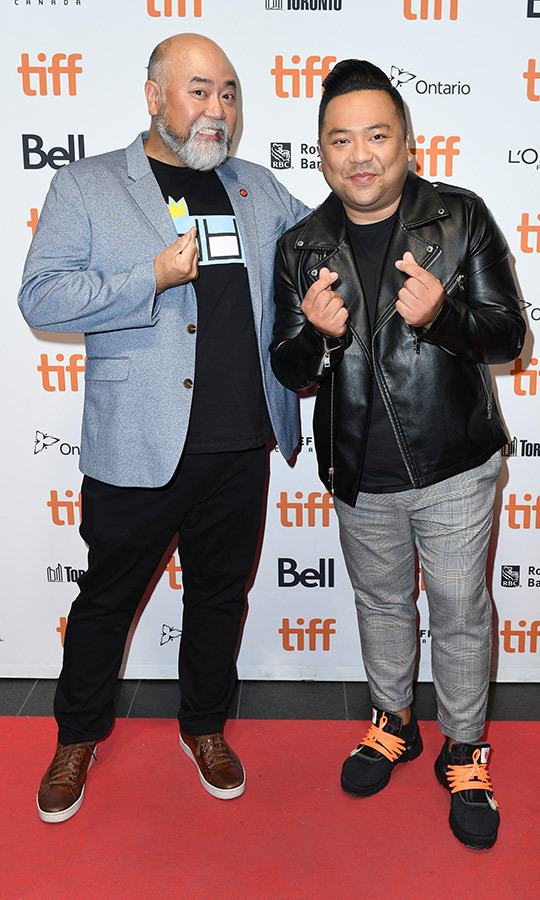 "<strong>Paul Sun-Hyung Lee</strong> and <strong><a href=""/tags/0/andrew-phung"">Andrew Phung</a></strong> of <i>Kim's Convenience</i> looked casual and cool on the <i>Coming Home Again</i> red carpet.