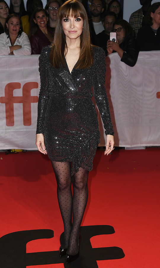 Director <strong>Lorene Scafaria</strong> dazzled in a black sequined dress!