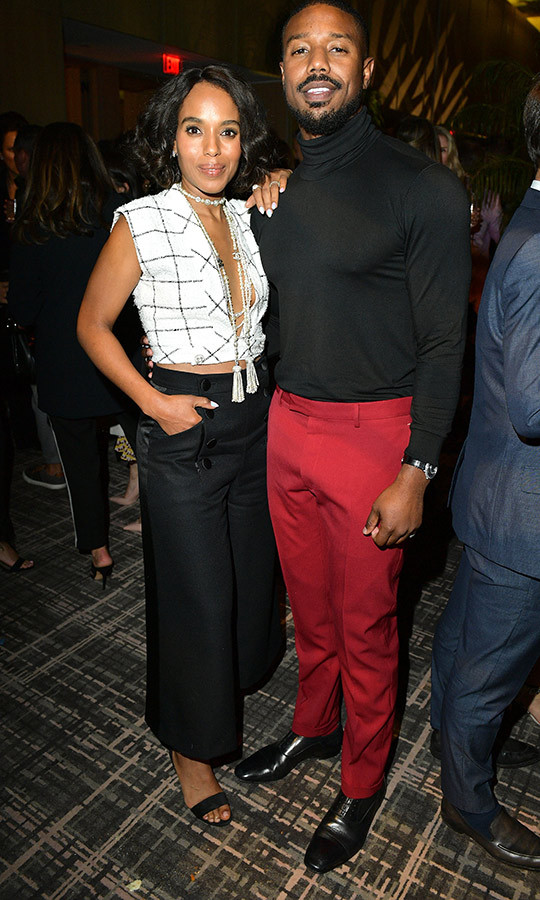 "<strong><a href=""/tags/0/michael-b-jordan"">Michael</a></strong> also caught up with <Strong><a href=""/tags/0/kerry-washington"">Kerry Washington</a></strong>.