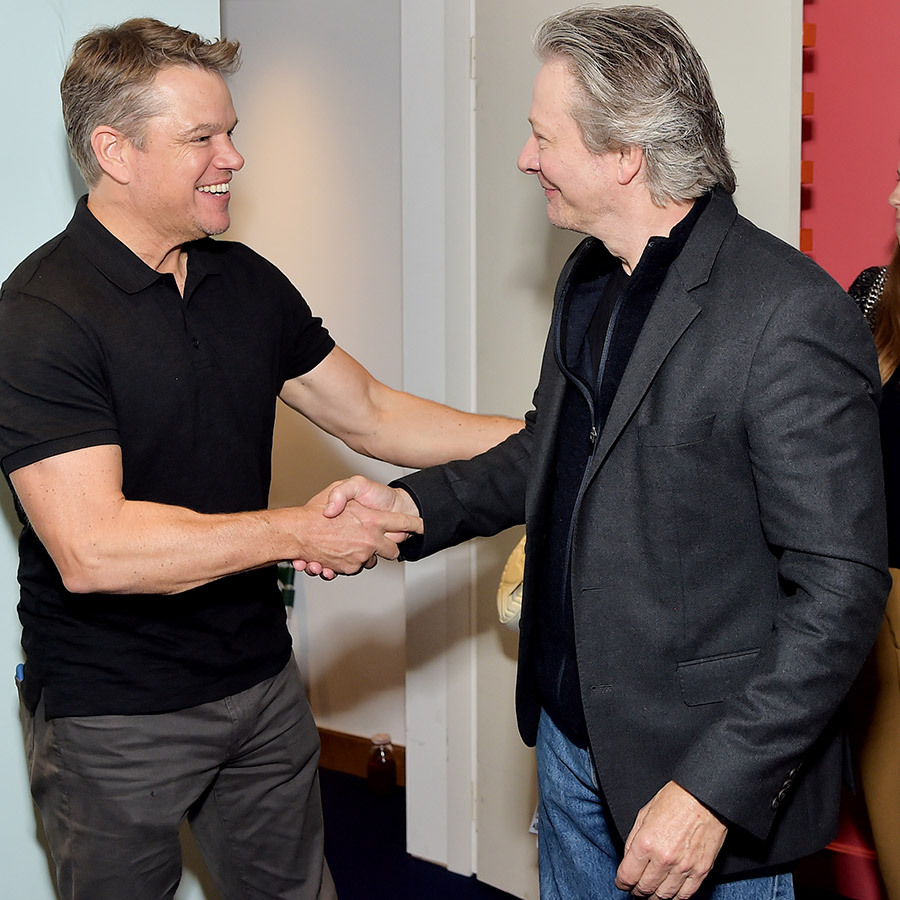 "<strong><a href=""/tags/0/matt-damon"">Matt Damon</a></strong> looked so pleased to run into <strong><a href=""/tags/0/chris-cooper"">Chris Cooper</a></strong> at the AT&T location at Hotel le St. Germain!