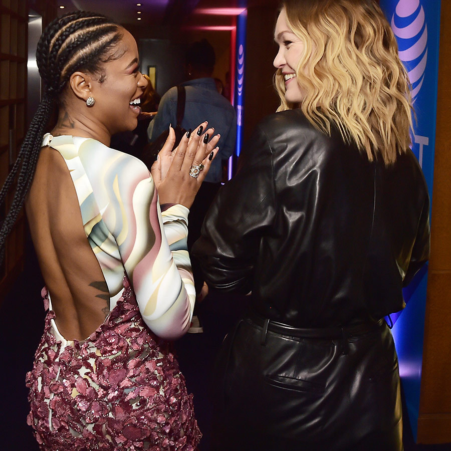 "<i>Hustlers</i> co-stars <strong><a href=""/tags/0/keke-palmer"">Keke Palmer</a></strong> and <strong><a href=""/tags/0/julia-stiles"">Julia Stiles</a></strong> shared a funny moment at the AT&T location.