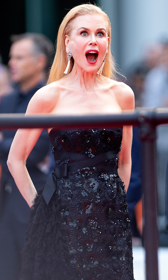 Something sure shocked Nicole on the red carpet!
