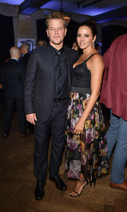 "<strong><a href=""/tags/0/matt-damon"">Matt Damon</a></strong> also brought his wife, <Strong>Luciana Barroso</strong>, with him to the party. She was also at the red carpet event for the film.