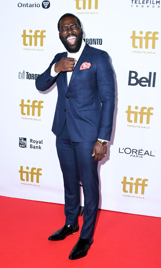 "Stephan's brother, <i>Endings, Beginnings</i> star <strong><a href=""/tags/0/shamier-anderson"">Shamier Anderson</a></strong>, got in a good laugh on the red carpet at the TIFF Tribute Awards gala! We love his suit! What a great look! That pocket square! 