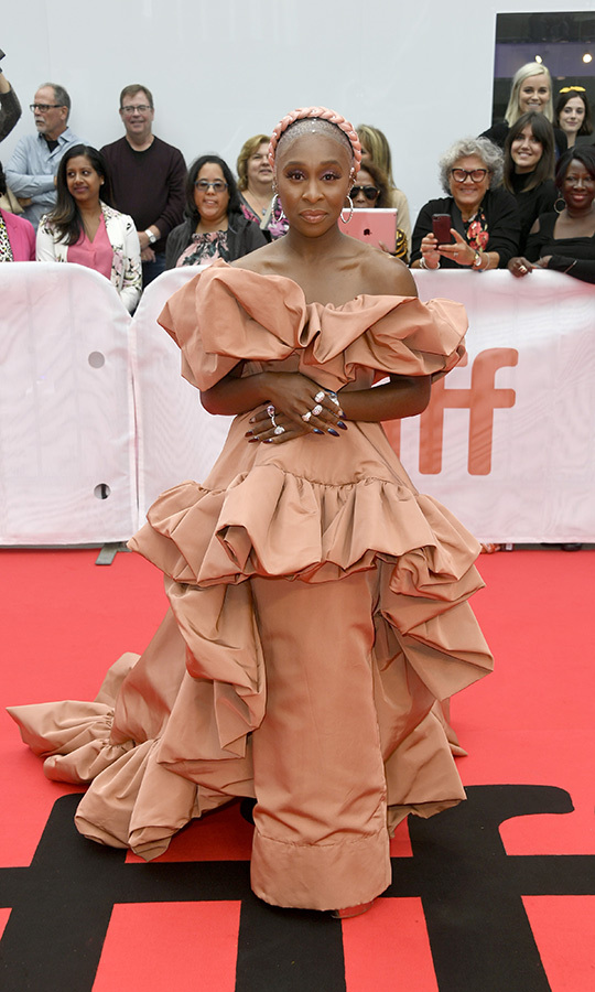 "Broadway star <strong><a href=""/tags/0/cynthia-erivo"">Cynthia Erivo</a></strong> chose a stunning peach gown on the red carpet for <i>Harriet</i>, in which she plays abolitionist Harriet Tubman, on Sept. 10! Her performance in the film is getting rave reviews, and it's only her third film role!