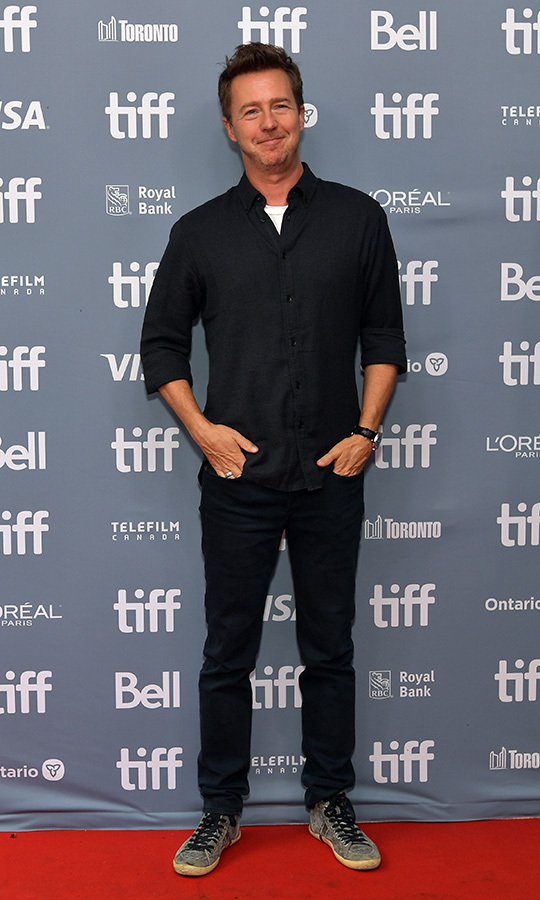 "<strong><a href=""/tags/0/edward-norton"">Edward Norton</a></strong> cut a laidback (but dressy, with that shirt) figure at the <i>Motherless Brooklyn</i> press conference on Sept. 11. 