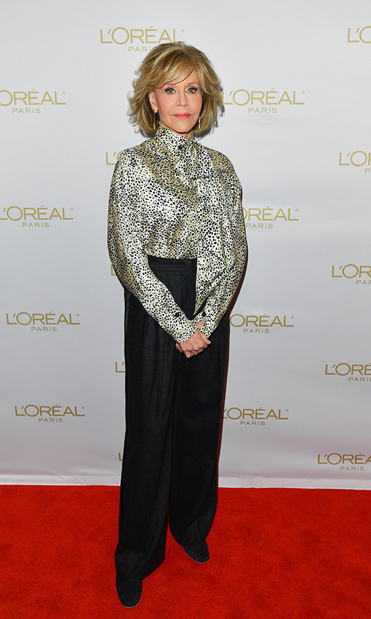 "The goddess who is <strong><a href=""/tags/0/jane-fonda"">Jane Fonda</a></strong> looked incredible in a polka-dot blouse and black pants on the red carpet for a L'Oreal panel on Sept. 11.