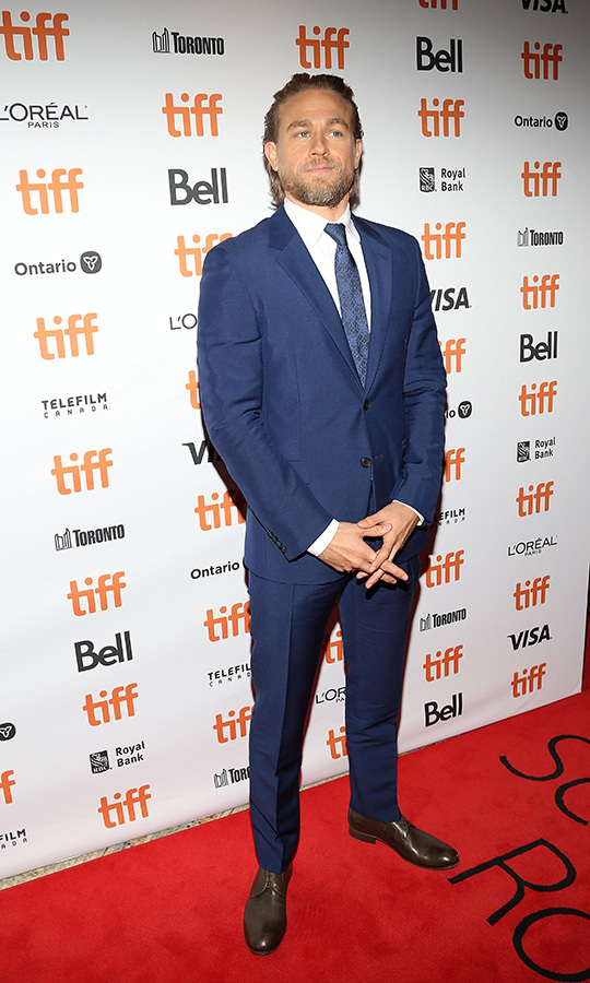 "We think <strong><a href=""/tags/0/charlie-hunnam"">Charlie Hunnam</a></strong> likes blue! He certainly looks good in it. The star wore his second blue suit in two days to the <i>Jungleman</i> red carpet on Sept. 12.
