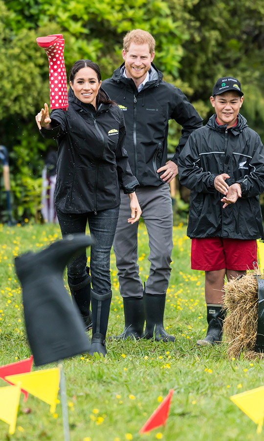 "On Oct. 30, 2018, <strong><a href=""/tags/0/meghan-markle"">Meghan</a></strong> and <Strong><a href=""/tags/0/prince-harry"">Harry</a></strong> dedicated part of the forest to the Queen's Commonwealth Canopy and then took part in the strange New Zealand sport of welly-wanging. It involves competitors throwing rubber boats as far as possible. 