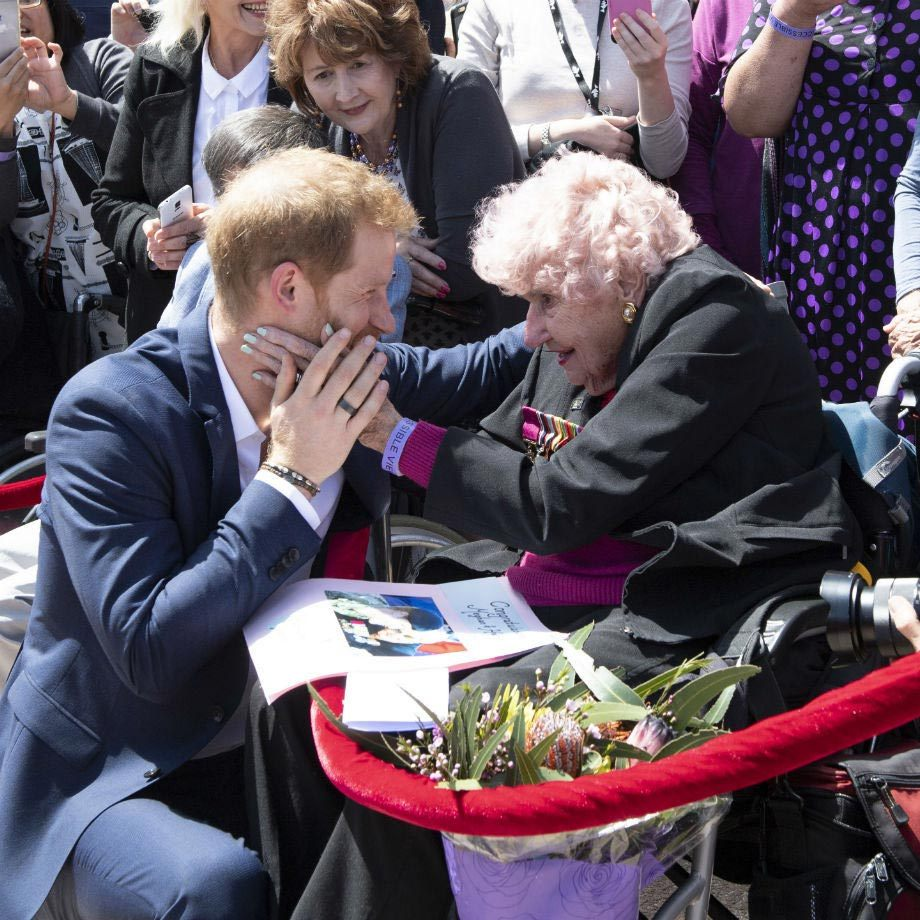 "<strong><a href=""/tags/0/prince-harry"">Harry</a></strong> got the chance to reunite with <strong>Daphne Dunne</strong>, then 98, who he had met on previous royal tours to Australia. Sadly, Daphne passed away earlier this year at age 99.