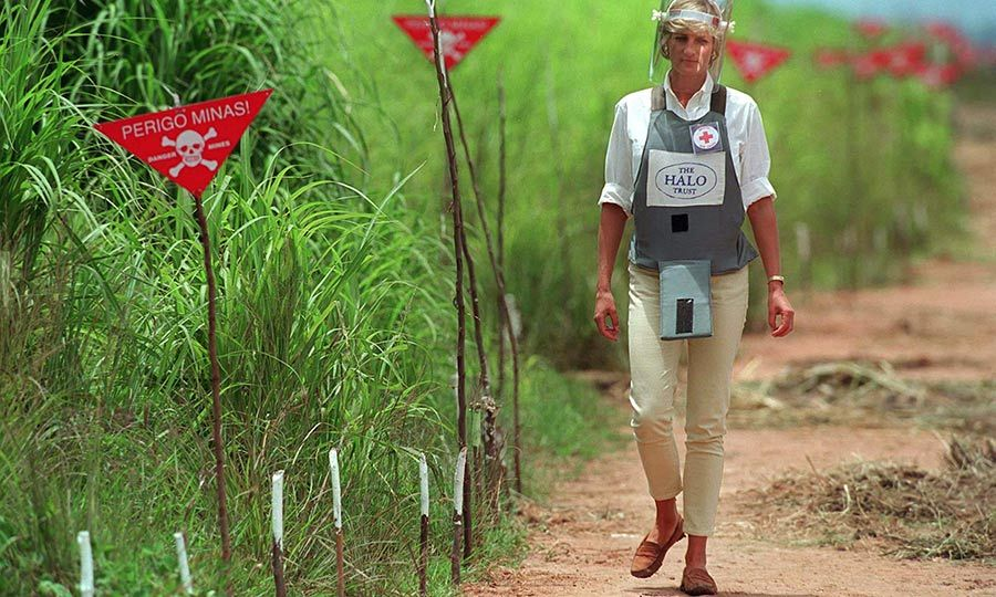 "In 1997, <Strong><a href=""/tags/0/princess-diana"">Princess Diana</a></strong> was credited with helping to give the issue of landmines international prominence when she walked through an active minefield in Huambo, Angola. 