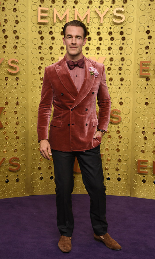 "<strong><a href=""/tags/0/james-van-der-beek"">James Van Der Beek</a></strong> chose a very daring look for the Emmys red carpet, rocking a pink crushed velvet jacket, pink shirt, burgundy botwtie and brown loafers. 