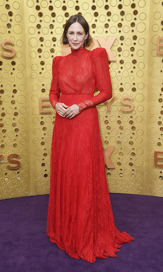 "<strong><A href=""/tags/0/vera-farmiga"">Vera Farmiga</a></strong> chose a long-sleeved bright red lace gown for the Emmys red carpet.