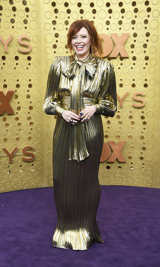 "<strong><a href=""/tags/0/natasha-lyonne"">Natasha Lyonne</a></strong> looked like an Emmy Award herself on the red carpet, wearing a gold dress with a huge pussybow. 