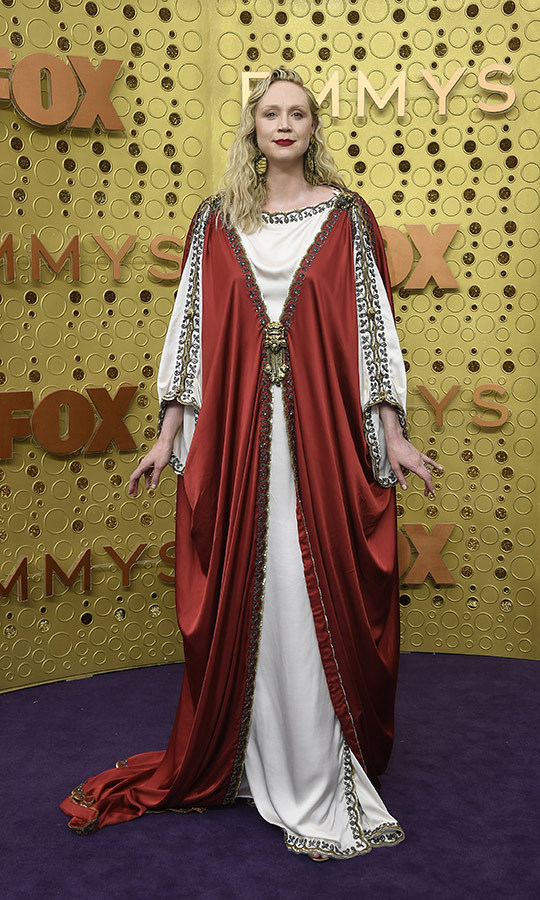 "<i>Game of Thrones</i>, meet Rome! <strong><a href=""/tags/0/gwendoline-christie"">Gwendoline Christie</a></strong> didn't look ready to say goodbye to George R.R. Martin's fantasy world just yet on the Emmys red carpet!