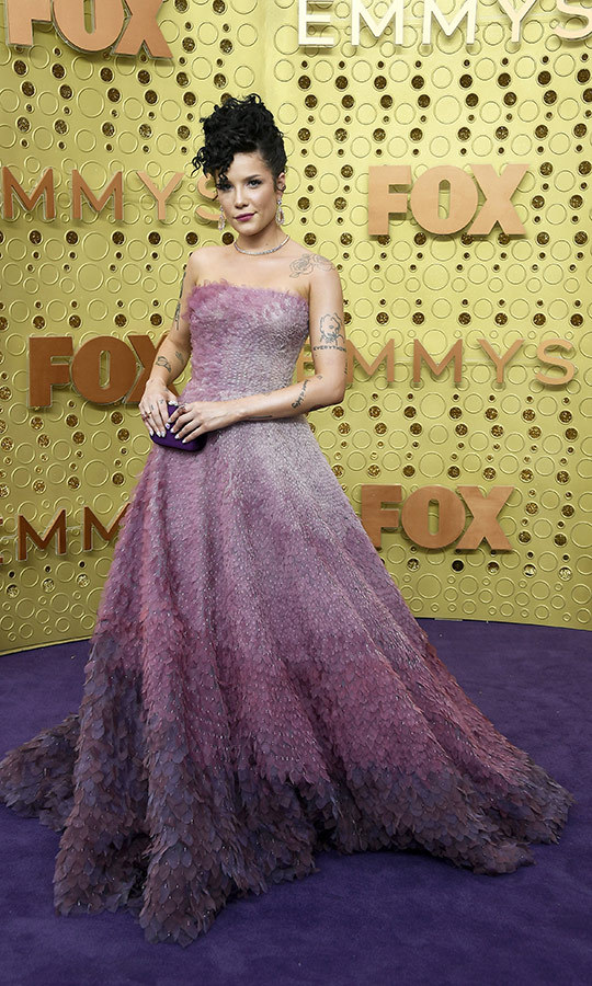 "<a href=""/tags/0/halsey""><strong>Halsey</a></strong> wore a stunning purple ombre gown that looked like she was sporting feathers.