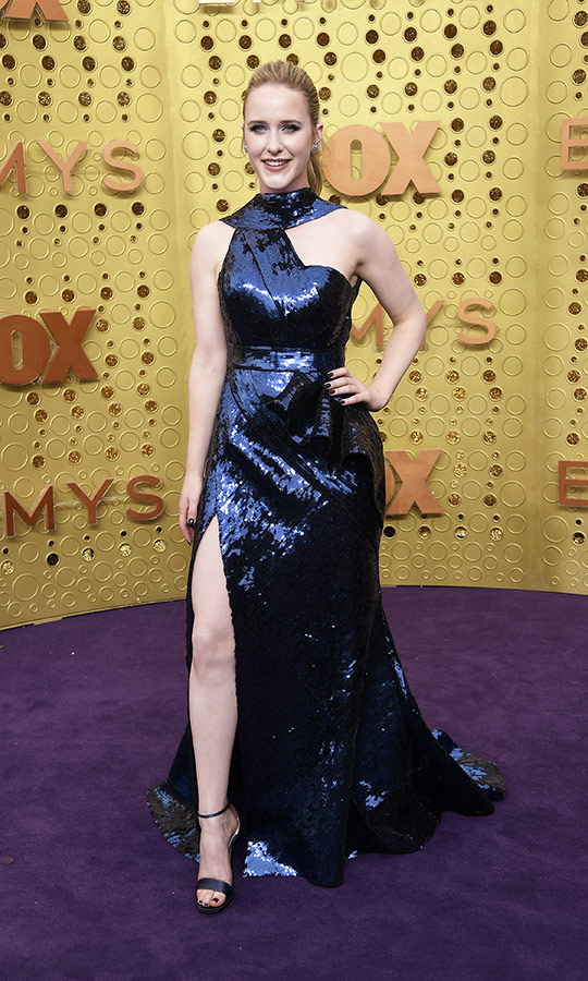 "Wow! <strong><a href=""/tags/0/rachel-brosnahan"">Rachel Brosnahan</a></strong> looked incredible in a blue sequined dress with asymmetrical cutouts. 