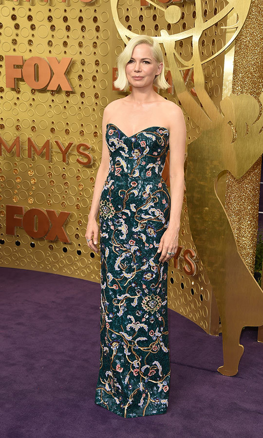 "<strong><a href=""/tags/0/michelle-williams"">Michelle Williams</a></strong> wore an incredible patterned strapless gown.