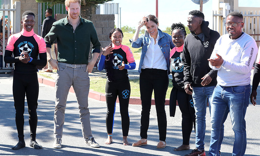 The Duke and Duchess then headed back outside with Waves for Change surf mentors to participate in a group activity. While they were due to visit the beach, weather conditions meant they had to change their plans and do their activity at the centre instead. 
