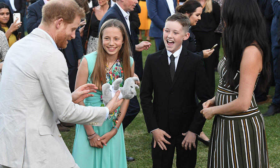 The two then gave Meghan and Harry a stuffed rhinoceros for Archie! Harry is a passionate conservationist and has written about the plight of Africa's rhinos on many occasions, and he seemed thrilled to receive it for his little boy! 