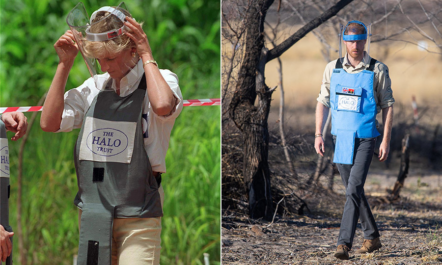Just as his mother had, the prince put on protective equipment - including a vest and visor - before walking through the minefield.