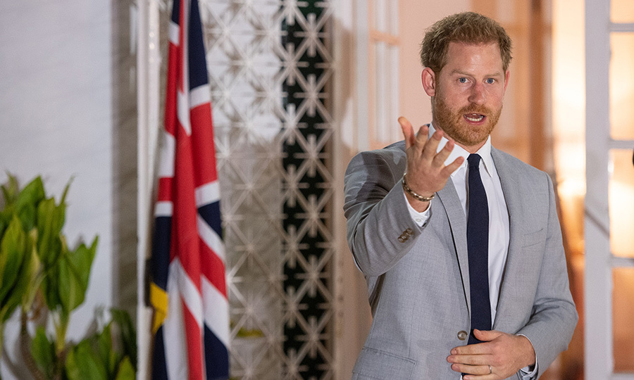 While there, Harry delivered a speech. 