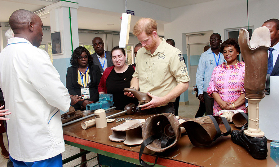 The prince also looked at several prostheses the orthopedic hospital offers for patients while he was there.