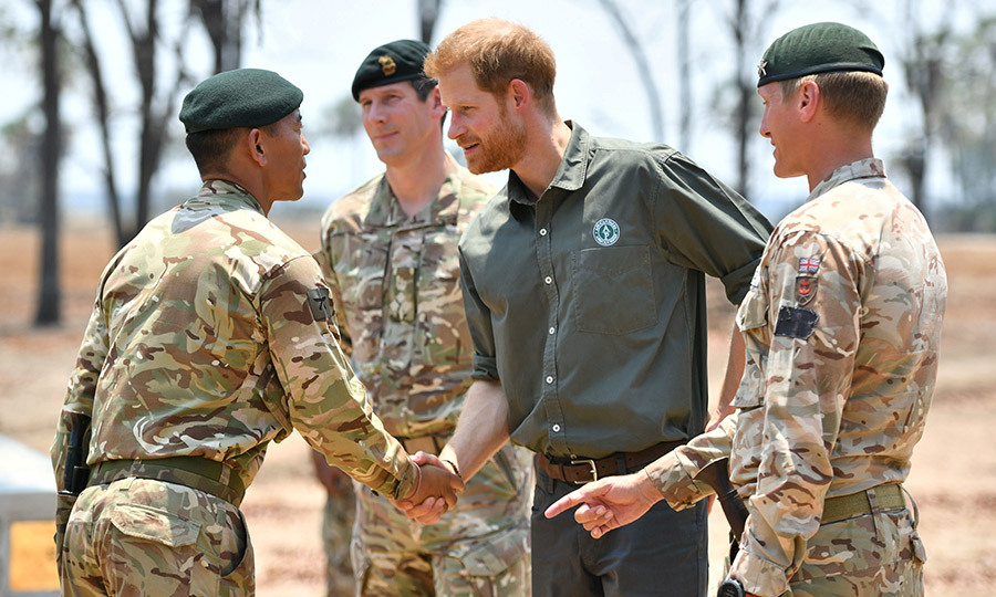 Harry shook hands with some of the Coldstream Guards and they seemed as happy to see him as he was to see them!