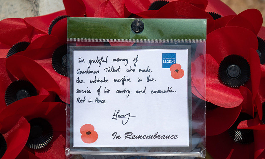 Harry left a note with the poppy wreath he placed at the memorial. 