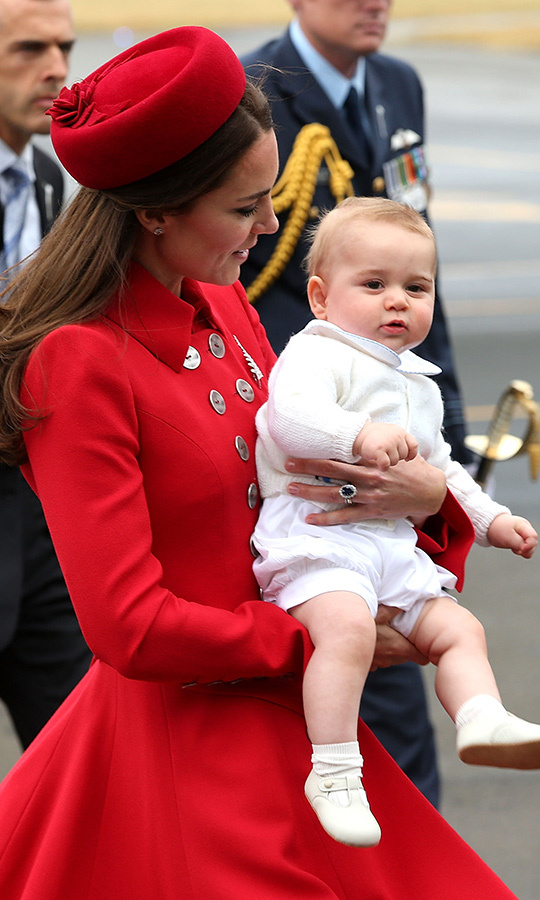 "Baby's first trip! <strong><A href=""/tags/0/prince-george"">Prince George</a></strong> was just about nine months old when he travelled to New Zealand and Australia with <strong><a href=""/tags/0/kate-middleton"">Duchess Kate</a></strong> and <Strong><a href=""/tags/0/prince-william"">Prince William</a></strong> on tour in April 2014! He stole the show right away, from the moment he got off the plane! Look at his tiny shoes! 
