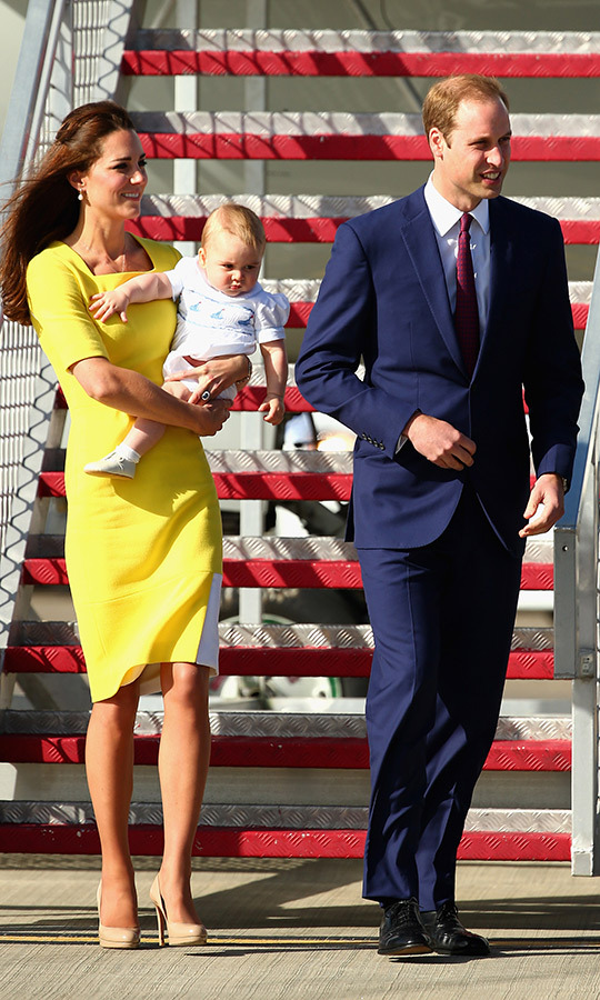 Outfit changes for everyone - even baby! George again looked adorable when he and his mom and dad arrived in Australia on April 16, 2014.