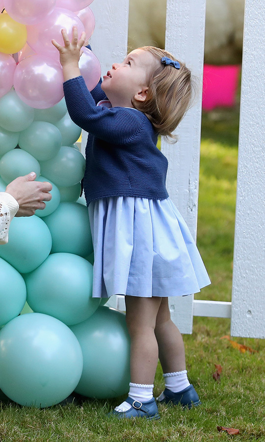 Charlotte loved this giant tower of balloons!