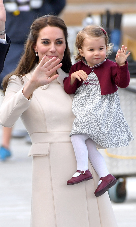 Wave bye-bye! Charlotte was too cute when she left Canada with her family at the end of the tour.