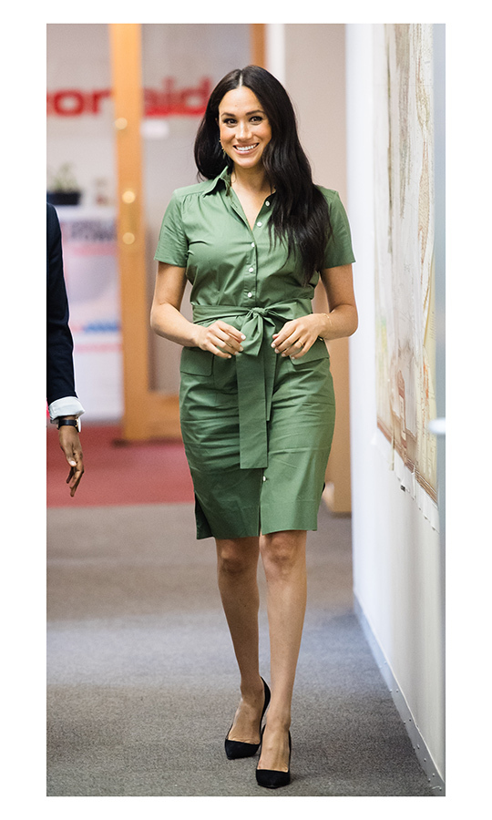 "From there, Meghan headed to Action Aid - and changed her outfit! The 38-year-old chose a green <Strong><a href=""/tags/0/room-502"">Room 502</a></strong> shirt dress for the occasion, which she paired with black pumps.