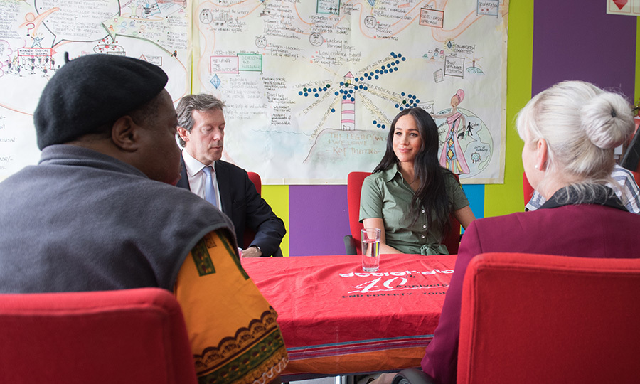 "While at Action Aid, Meghan participated in a roundtable discussion on gender-based violence, particularly in schools. She made some <a href=""https://ca.hellomagazine.com/royalty/02019100153212/meghan-markle-statement-gender-based-violence-johannesburg-south-africa-royal-tour""><strong>powerful statements</a></strong>, and connected mental health with the ability to be believed when coming forward about abuse. 