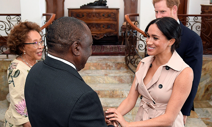 Later in the evening, Meghan and Harry travelled to Pretoria, the administrative capital of South Africa, to meet with President Cyril Ramaphosa and his wife, <strong>Tshepo Motsepe</strong>.