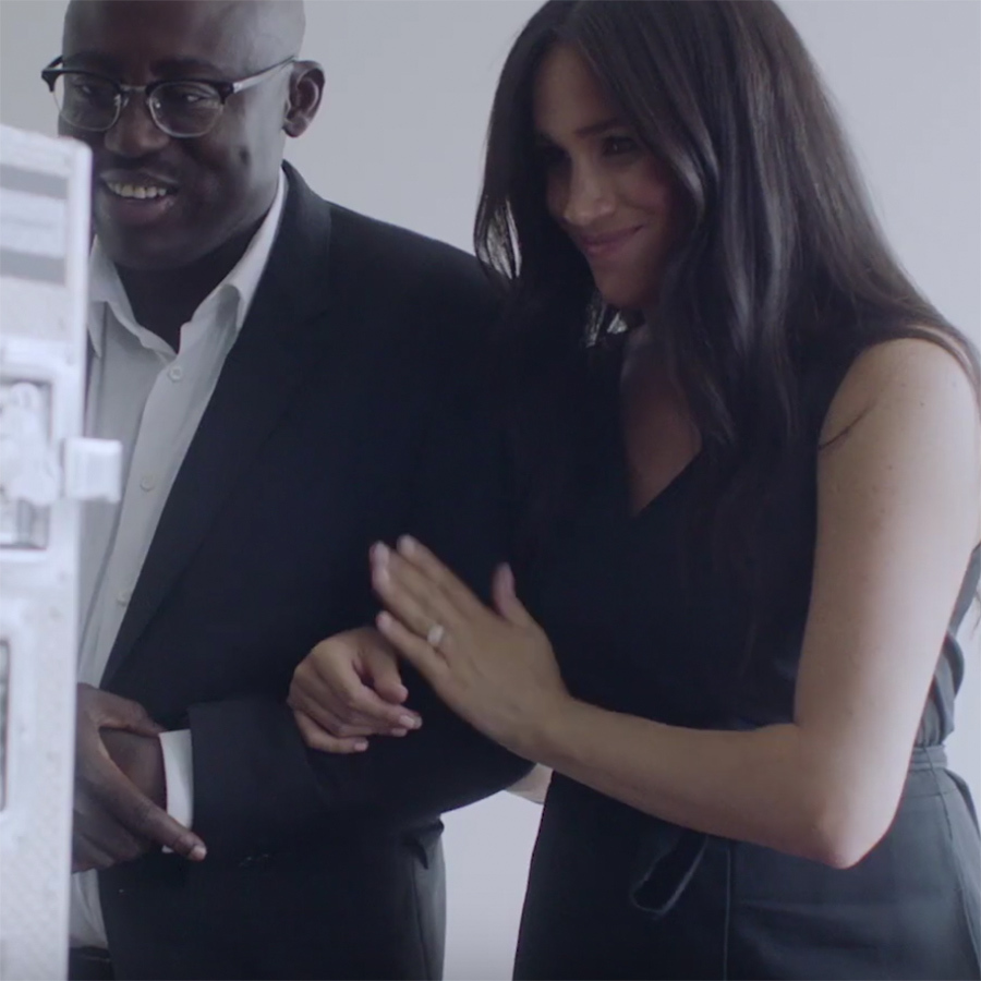 We last saw Meghan in the jumpsuit when she appeared in a promotional video for the September issue of <i>British Vogue</i>. Then, she and Editor-in-Chief <strong>Edward Enninful</strong> smiled as they looked at a monitor featuring all of the cover stars during a photo and video shoot for the issue back in August.