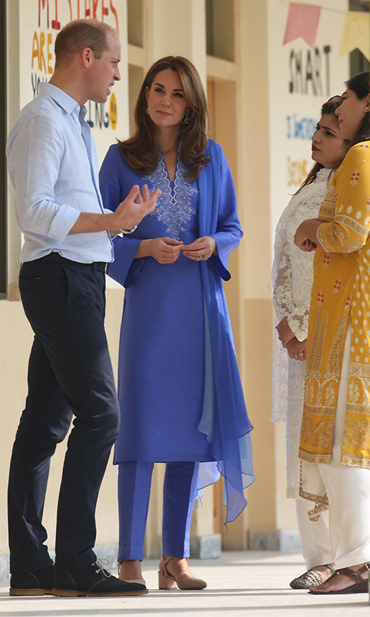 Once inside, the duke and duchess spoke to teachers about how the students are benefitting from the Teach for Pakistan program, a fast-track teacher training program based on a similar one in the UK. 