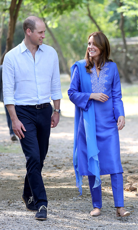 William and Kate then headed to their second engagement of the day in the Margalla hills, wearing the same outfits. 