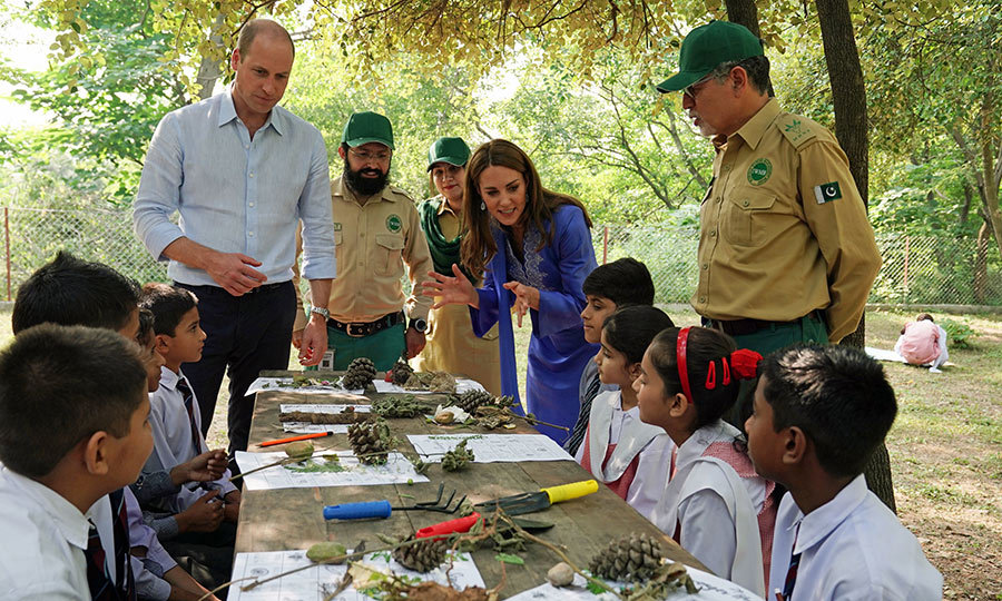 William and Kate later met with some more children at the park, who were doing an arts and crafts activity to learn about the importance of conservation and protecting the environment.