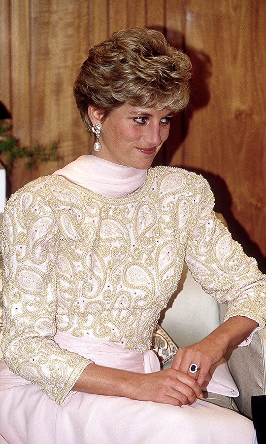 "Later that day, Diana attended a special reception held in her honour in Lahore. Much as Kate has been with this current tour, Diana's wardrobe attracted a lot of attention during her time in Pakistan. She chose a gorgeous pink beaded <strong><a href=""/tags/0/catherine-walker"">Catherine Walker</a></strong> gown for the event. Kate has worn two Catherine Walker items on this tour already, too!