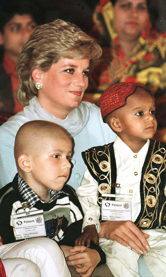 Diana, always at ease with children, bonded with two cancer patients while there. 