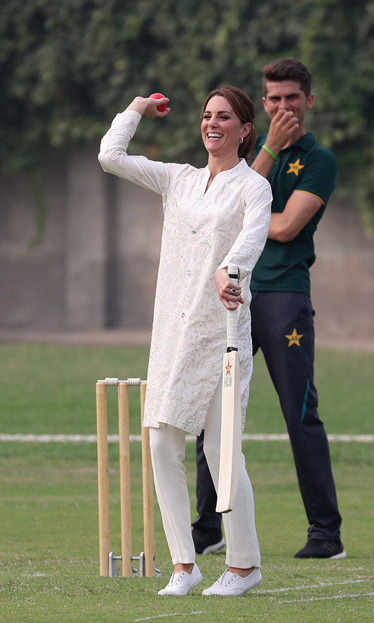 Kate was keen to show off her batting skills!