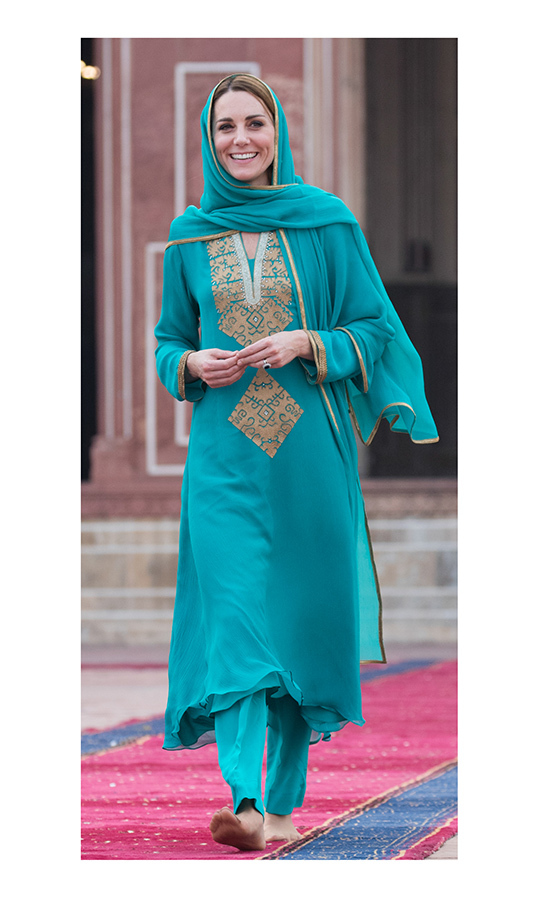 "For her third engagement of the day, Kate stepped out to the iconic Badshahi Mosque in a beautiful turquoise, gold-embroidered shalwar kameez and headscarf by <strong><a href=""/tags/0/maheen-khan"">Maheen Khan</a></strong>.