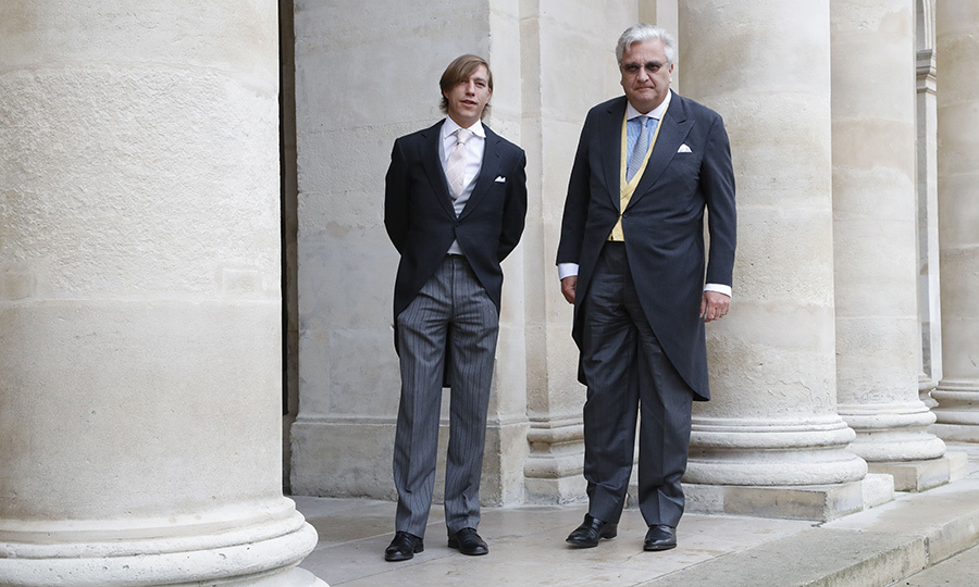 <strong>Prince Louis of Luxembourg</strong> (left) and <strong>Prince Laurent of Belgium</strong> came dressed in tuxedos with morning coats. 